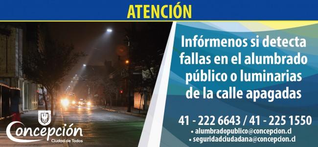 Atención: Infórmenos si detecta fallas en el alumbrado público o luminarias de la calle apagadas telefono 412226643-412251550